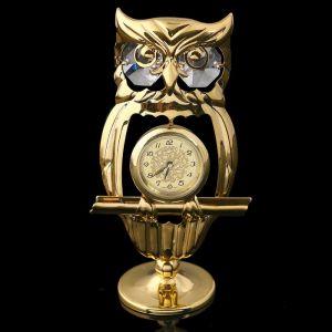 Сувенир - часы «Филин», с кристаллами Сваровски 1431475
