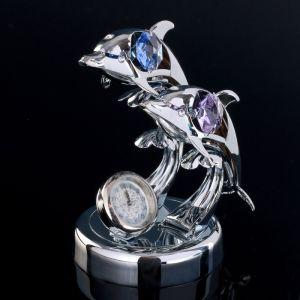 """Сувенир с кристаллами Сваровски """"Два дельфина с часами"""" 8,1х7,7 см   4266183"""