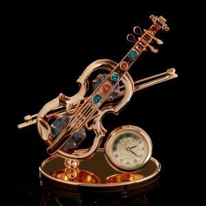 """Сувенир с кристаллами Сваровски """"Скрипка с часами"""" 9,5х7,5 см   4266184"""