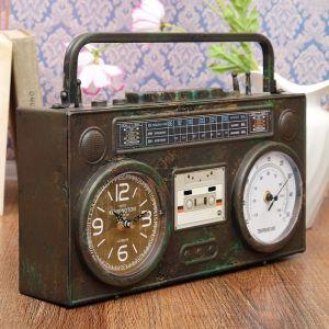 """Часы настольные """"Бумбокс"""", с термометром, черный, под старину, 35.5х21х9.5 см 3620730"""