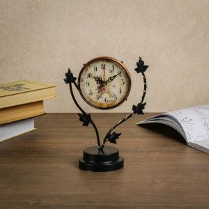 """Часы настольные """"Листочки"""", с маленькими фонариками, 17х9х25 см 3620937"""