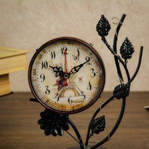 Часы настольные с маленькими фонариками и листиками, 17х9х25 см 3620940