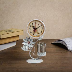 Часы настольные со стаканом, белые, 17х9х25 см 3620941