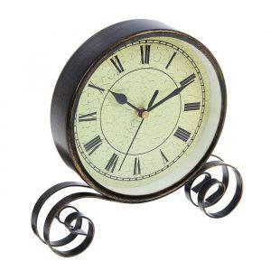 Часы настольные, на витой подставке, циферблат с римскими цифрами, чёрные, d=16 см 1586552
