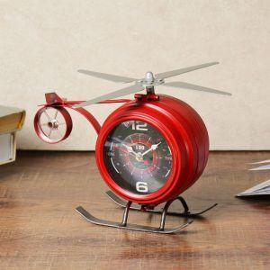"Часы настольные, серия: Транспорт, ""Красный вертолёт"", 22х10.5х15 см 3620865"