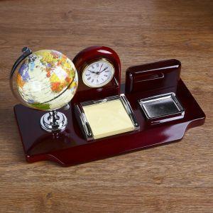 Набор настольный 5в1 (часы, подст п/виз,Глобус,листы д/зам,ст-н д/скреп) 19х24х16,5 см 430109