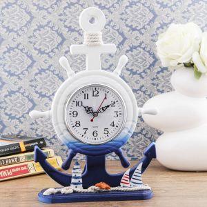 "Часы настольные ""Штурвал на подставке"" 34*23*8 см. маяк, канат, корабль, Микс 1206515"