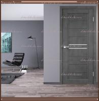 Межкомнатная дверь NEXT 2  Муар тёмно-серый, стекло - ЛАКОБЕЛЬ Белое :
