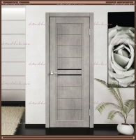 Межкомнатная дверь NEXT 2 Муар светло-серый, стекло - ЛАКОБЕЛЬ Чёрное :