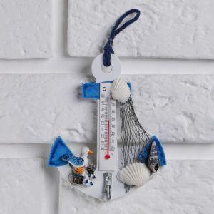 Термометр «Якорь с чайкой», 12 х 9,5 х 2,5 см