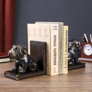 """Держатели для книг """"Чёрные бульдоги"""" с золотом набор 2 штуки 14х15,5х9 см   4297005"""