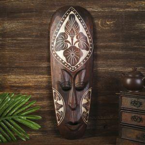 "Маска настенная дерево ""Абориген коричневый с цветком"" 3х18х50 см   4165968"