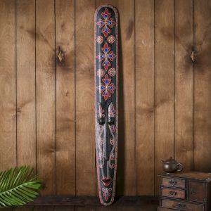 """Маска настенная дерево """"Абориген черный с красными цветами"""" 3х12х100 см   4165971"""