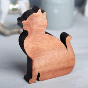 Деревянная интерьерная фигурка «Кошка», 13 ? 10 см   4225107
