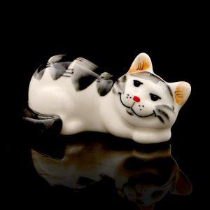 Статуэтка фарфоровая «Котя Муся», серая, 9см 3275857