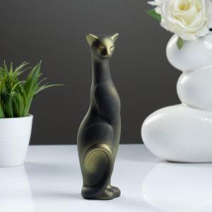 """Фигура """"Кошка Багира"""" наклоненная подпал черная/золото 5 ? 5 ? 20 см 008 772076"""