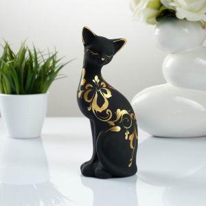 """Фигура """"Кошка ушастая"""" 7 ? 8 ? 19 см 088 черная 707374"""