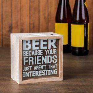 "Копилка дерево для пивных крышек ""Beer"" 12,5х12,5х6 см   3483894"
