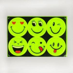 Светоотражающая наклейка «Смайлы», d = 6,5 см, цвет жёлтый