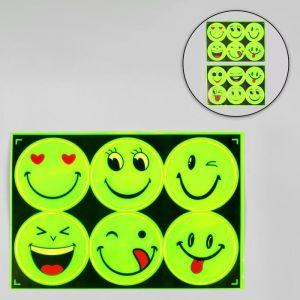 Светоотражающая наклейка «Смайлы», d = 6,5 см, цвет МИКС