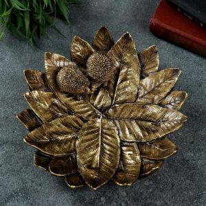 """Подставка для мелочей """"Пара ежей на тарелке из листьев"""" золото 24,5х24,5х6,5см 4881503"""