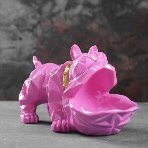 """Подставка под мелочи """"Английский бульдог"""" розовый 30х14х16,5см 4832887"""