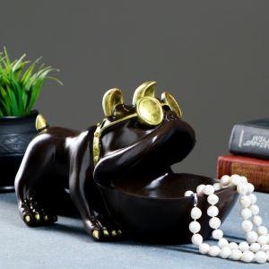 "Шкатулка для мелочей ""Бульдог"" шоколад 16х27см   4577034"