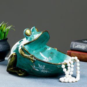 "Шкатулка для мелочей ""Лягушка"" зеленая 18х26см.   4577030"