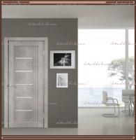 Межкомнатная дверь NEXT 3 Муар светло-серый, стекло - ЛАКОБЕЛЬ Белое :