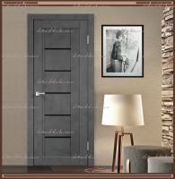 Межкомнатная дверь NEXT 3 Муар тёмно-серый, стекло - ЛАКОБЕЛЬ Чёрное :