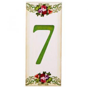 """Цифра дверная из дерева """"7"""", цветочный стиль, 3*7 см   2190122"""