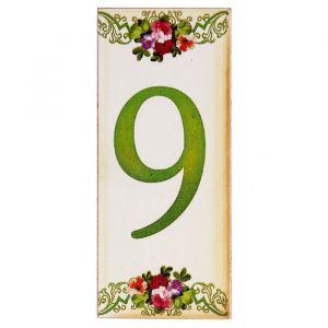 """Цифра дверная из дерева """"9"""", цветочный стиль, 3*7 см   2190124"""