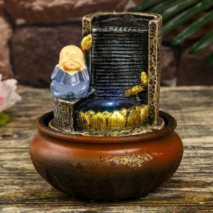 """Фонтан настольный полистоун от сети свет """"Маленький хотей у фонтана-дождь"""" 20х16х16 см   4304086"""