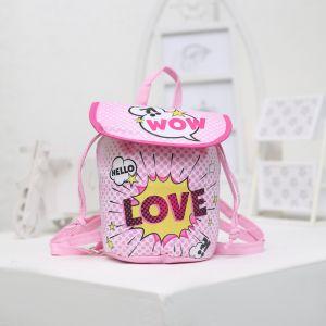 Детский рюкзак, отдел на шнурке, цвет розовый