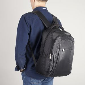 Рюкзак молодёжный, 2 отдела на молниях, наружный карман, 2 боковые сетки, усиленная спинка, цвет чёрный