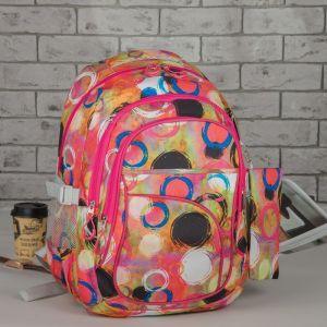 Рюкзак школьный, набор, отдел на молнии, 3 наружных кармана, 2 боковые сетки, с пеналом, цвет красный