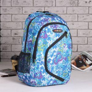 Рюкзак школьный, отдел на молнии, 2 наружных кармана, 2 боковых сетки, цвет голубой