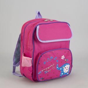 Рюкзак школ Слоник, 26*12*33, отд на молнии, 3 н/кармана, ортопед спин, розовый 2362939