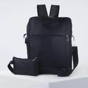 Рюкзак школьный, отдел на молнии, 2 наружных кармана, 2 боковых кармана, USB, с пеналом, цвет чёрный