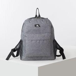 Рюкзак школьный, отдел на молнии, наружный карман, 2 боковых сетки, цвет серый