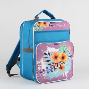 Рюкзак школьный, 2 отдела на молниях, 2 наружных кармана, цвет голубой
