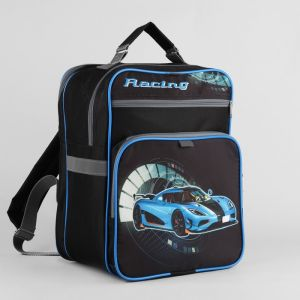Рюкзак школьный, 2 отдела на молниях, 2 наружных кармана, цвет чёрный
