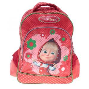 Рюкзак школьный «Маша и Медведь», эргономичная спинка, для девочки, красный