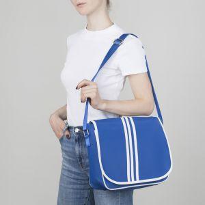 Сумка молодёжная, отдел на молнии, наружный карман, регулируемый ремень, цвет синий