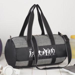Сумка спортивная, отдел на молнии, наружный карман, длинный ремень, цвет серый/чёрный