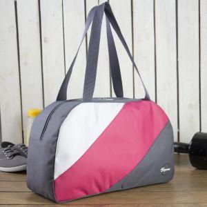 Сумка спортивная, отдел на молнии, наружный карман, цвет серый/розовый/белый