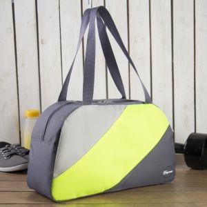 Сумка спортивная, отдел на молнии, наружный карман, цвет серый/салатовый