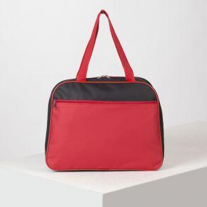 Сумка спортивная, отдел на молнии, наружный карман, цвет чёрный/красный