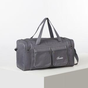 Сумка спортивная, отдел на молнии, 4 наружных кармана, длинный ремень, цвет серый