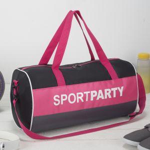Сумка спортивная, отдел на молнии, длинный ремень, цвет чёрный/розовый